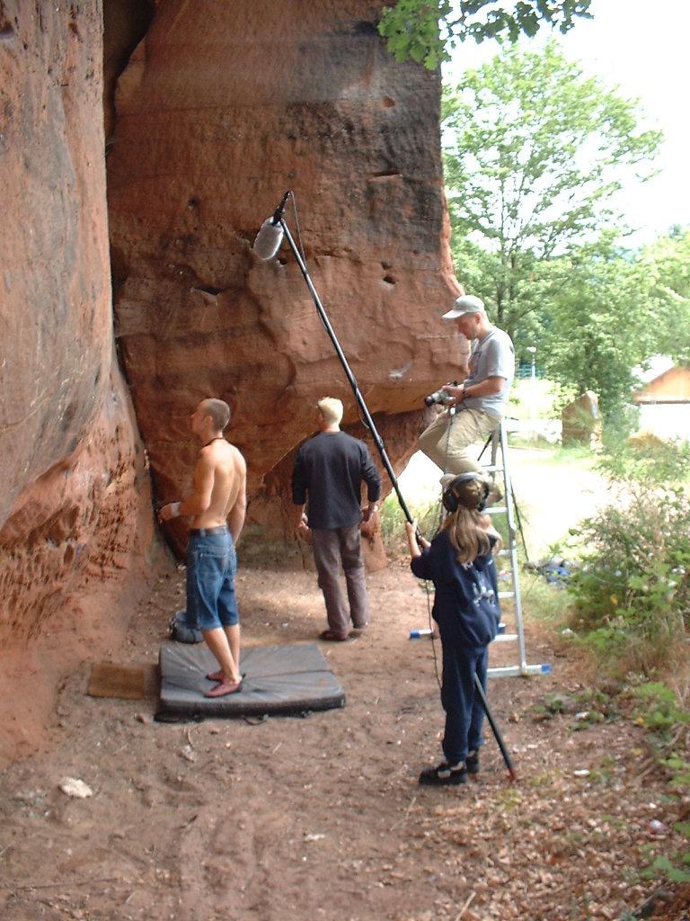 """Am Set des Boulders """"Urinator"""""""